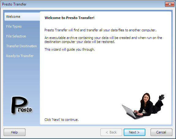 Click to view Presto Transfer IE and Windows Mail 3.32 screenshot