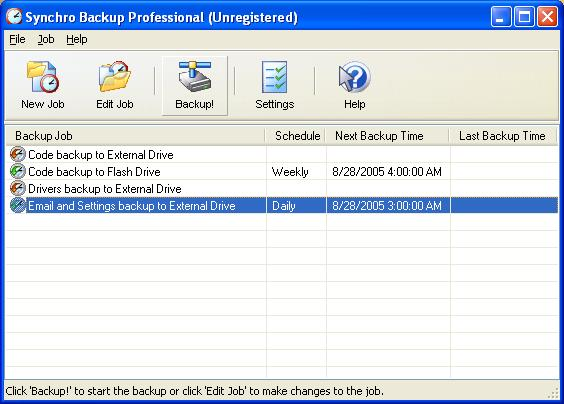 Click to view Synchro Backup Professional 1.0 screenshot